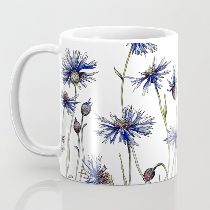 Blue Cornflowers, Illustration Coffee Mug