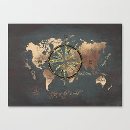 world map wind rose 8 #worldmap #map Canvas Print