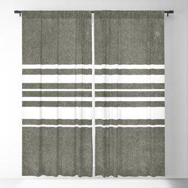 irregular stripes - white on olive green Blackout Curtain