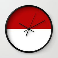 indonesia Wall Clocks featuring indonesia country flag by tony tudor