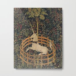 HD Trapped Unicorn Medieval Tapestry Metal Print