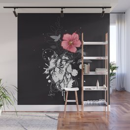 Anatomical heart with flower Wall Mural