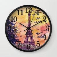 paris Wall Clocks featuring Paris by Anna Shell