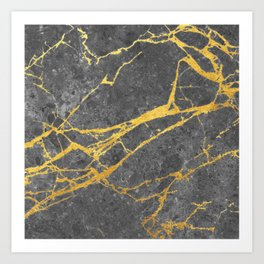 Matte black marble with gold Art Print