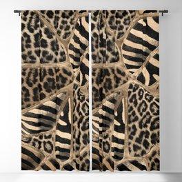 Animal Print - Leopard and Zebra - pastel gold Blackout Curtain