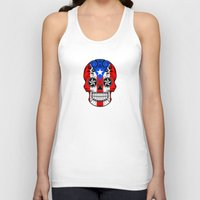 puerto rico Tank Tops featuring Sugar Skull with Roses and Flag of Puerto Rico by Jeff Bartels