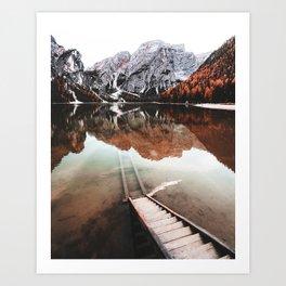 braies lake in Trentino Art Print