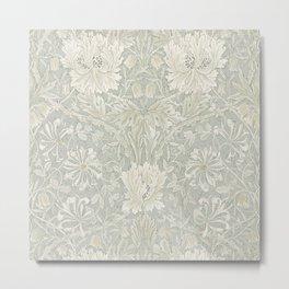 William Morris Honeysuckle & Tulip Pale Grey Blue Floral Metal Print