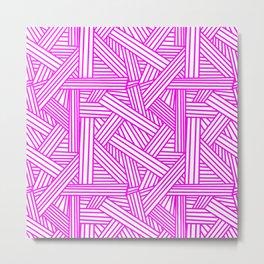 Sketchy Abstract (Magenta & White Pattern) Metal Print