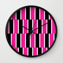 Shifted Illusions - Black and Pink Wall Clock