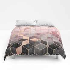 Pink And Grey Gradient Cubes Comforters