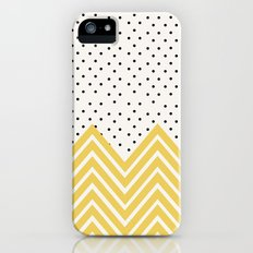 Chartreuse Chevron and dots  iPhone (5, 5s) Slim Case