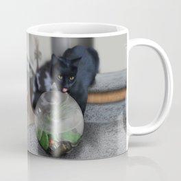 Black Kitty Cat with Fish in Fishbowl Coffee Mug