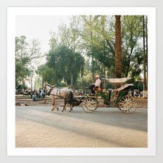 caleche / horse carriage in Marrakech Art Print