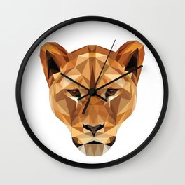 Low poly lioness Wall Clock