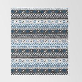 Pew Pew Gun Ugly Christmas Sweater Pattern Throw Blanket