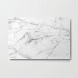 White Carrara Marble natural surface Metal Print