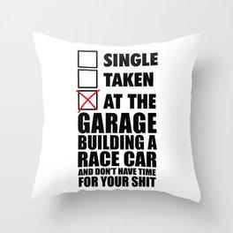 At the garage building a race car Throw Pillow