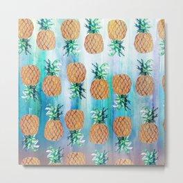 Pineapple Beach Aqua Metal Print