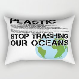 Anti Plastic Ocean Water Pollution Facts Protest (Read Fine Print) Rectangular Pillow