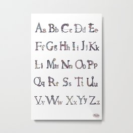 Alphabet with people walking their dogs. Metal Print