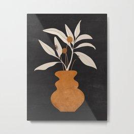 Minimal Abstract Art Vase Plant 11 Metal Print