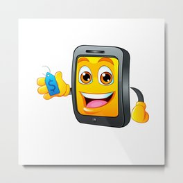 Yellow fun mobile phone cartoon with blue price tag dollar sign Metal Print