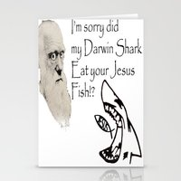 darwin Stationery Cards featuring Darwin Shark by A&N2218