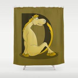 Pony Monogram Letter D Shower Curtain