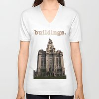 buildings V-neck T-shirts featuring Buildings by Wis Marvin