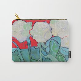 White Roses on Red Carry-All Pouch