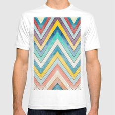 colorful mountains MEDIUM Mens Fitted Tee White