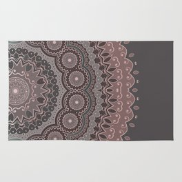 Mandala Spirit, Rose Pink, Gray Rug