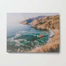 blue water on golden california coast Metal Print