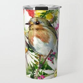 Robin Bird and Summer Colors Travel Mug