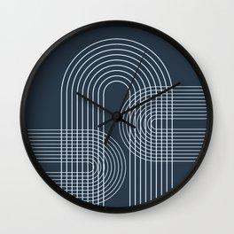 Geometric Lines in Midnight Blue 2 Wall Clock