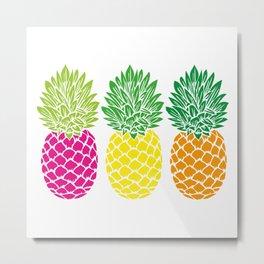 Pineapple Trio | Three Pineapples | Pineapple Silhouettes | Hot Pink | Yellow | Orange | Metal Print