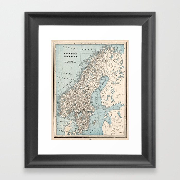 Vintage Map of Norway and Sweden (1893) Gerahmter Kunstdruck