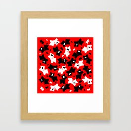 The pattern of butterflies. White and black butterfly on a red background. Framed Art Print