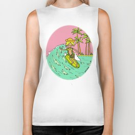 Surf Art Groovy Slides in Paradise by Surfy Birdy Biker Tank