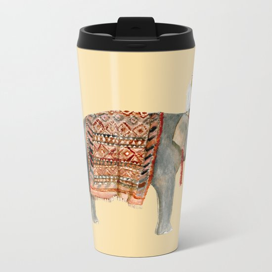 Elephant Ride on Sand Metal Travel Mug