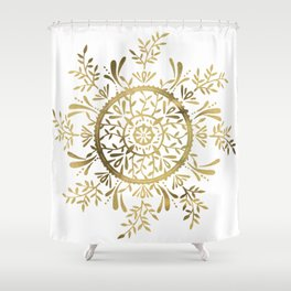 Leaf Mandala – Gold Palette Shower Curtain