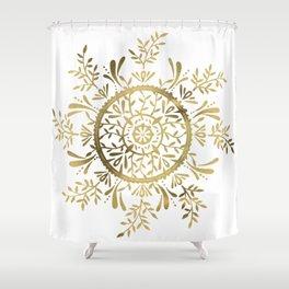 Leaf Mandala – Gold Palette Shower Curtain