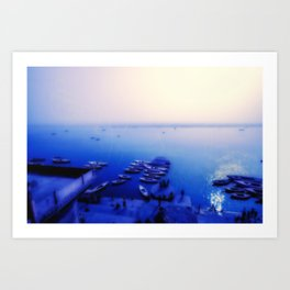 Dreamy blue shores of the Ganges River Art Print