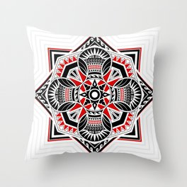 Mandala thai art mixed with polynesian design. In geometric square and circles shapes. Throw Pillow