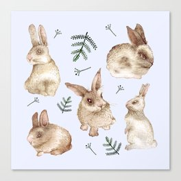 Bunnies and Leaves (Blue) Canvas Print