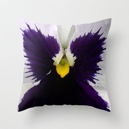 Watercolor of a white and purple pansy  Throw Pillow