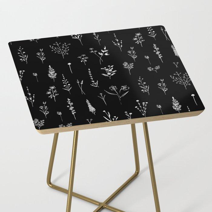 Black wildflowers Side Table
