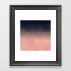 Modern abstract dark navy blue peach watercolor ombre gradient Framed Art Print