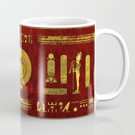 Golden Egyptian Scarab on red leather Coffee Mug